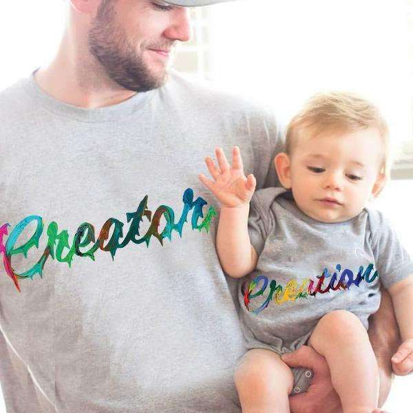 Creator (Parents) & Creation (Baby)-Matching Shirt Set