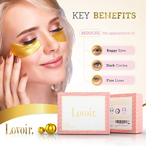 Under Eye Mask - By Lovoir, (15 Pairs) Collagen Treatment Gel Pads For Undereye Dark Circles, Puffiness And Wrinkles, 24k Gold Patches For Puffy Bags Under Eyes Suitable For Women And Men