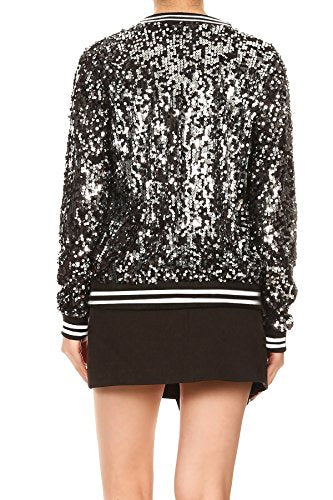 Anna-Kaci Womens Sequin Long Sleeve Front Zip Jacket with Ribbed Cuffs, White, X-Large