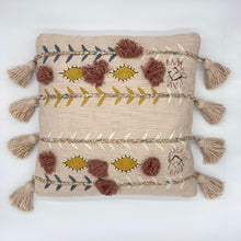 Load image into Gallery viewer, Square Embroidered Pillow with Tassles