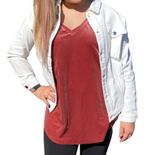 Load image into Gallery viewer, Boyfriend Fit White Denim Jacket