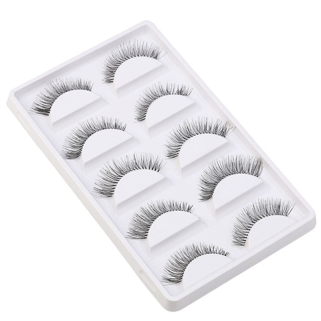 5 Pairs Thick Long Cross Party False Eyelashes