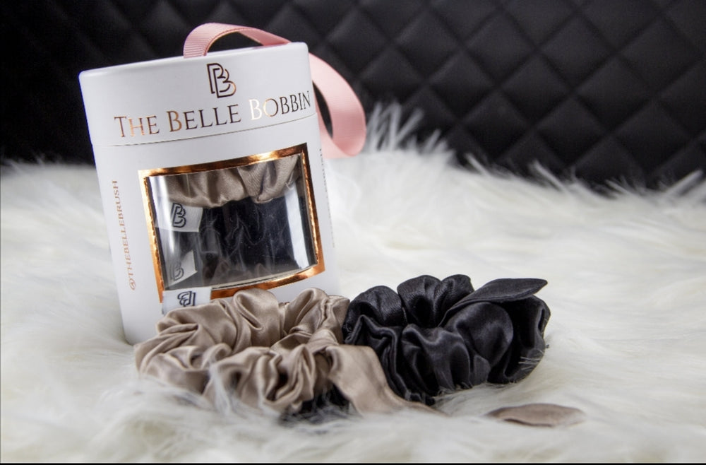 The Belle Bobbin - 2 x 100% Mulberry Silk Scrunchies - Black & Champagne - Belle Hair Extensions