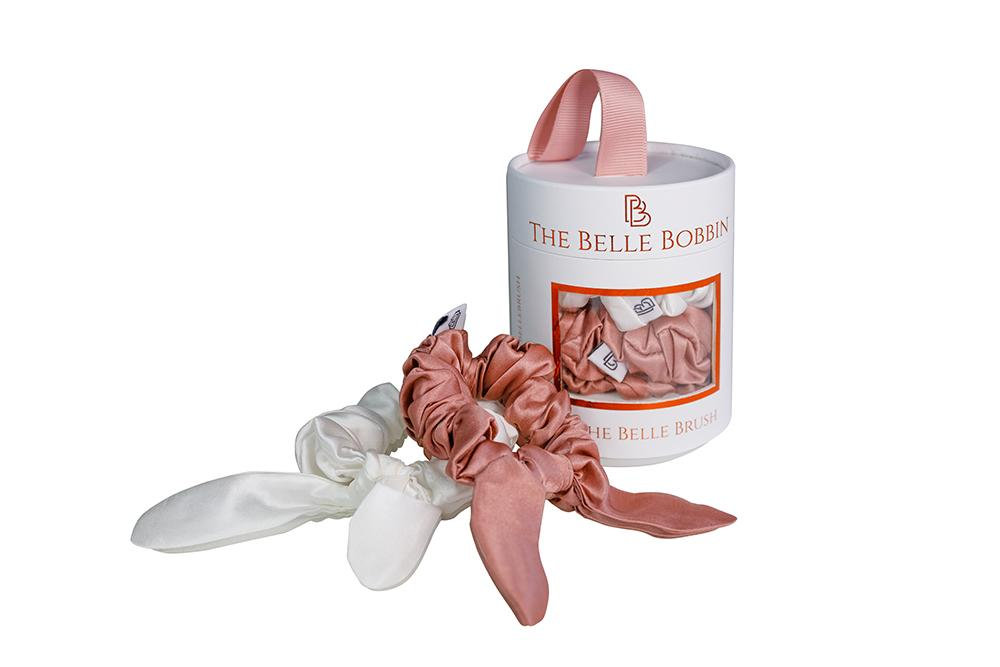 The Belle Bobbin - 2 x 100% Mulberry Silk Scrunchies - Pink & White