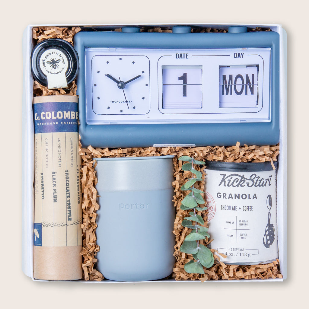 Office gift set featuring morning essentials and a charming retro calendar clock.