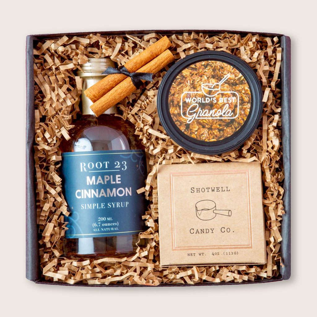Holiday gift set with drink mixer, granola and caramels