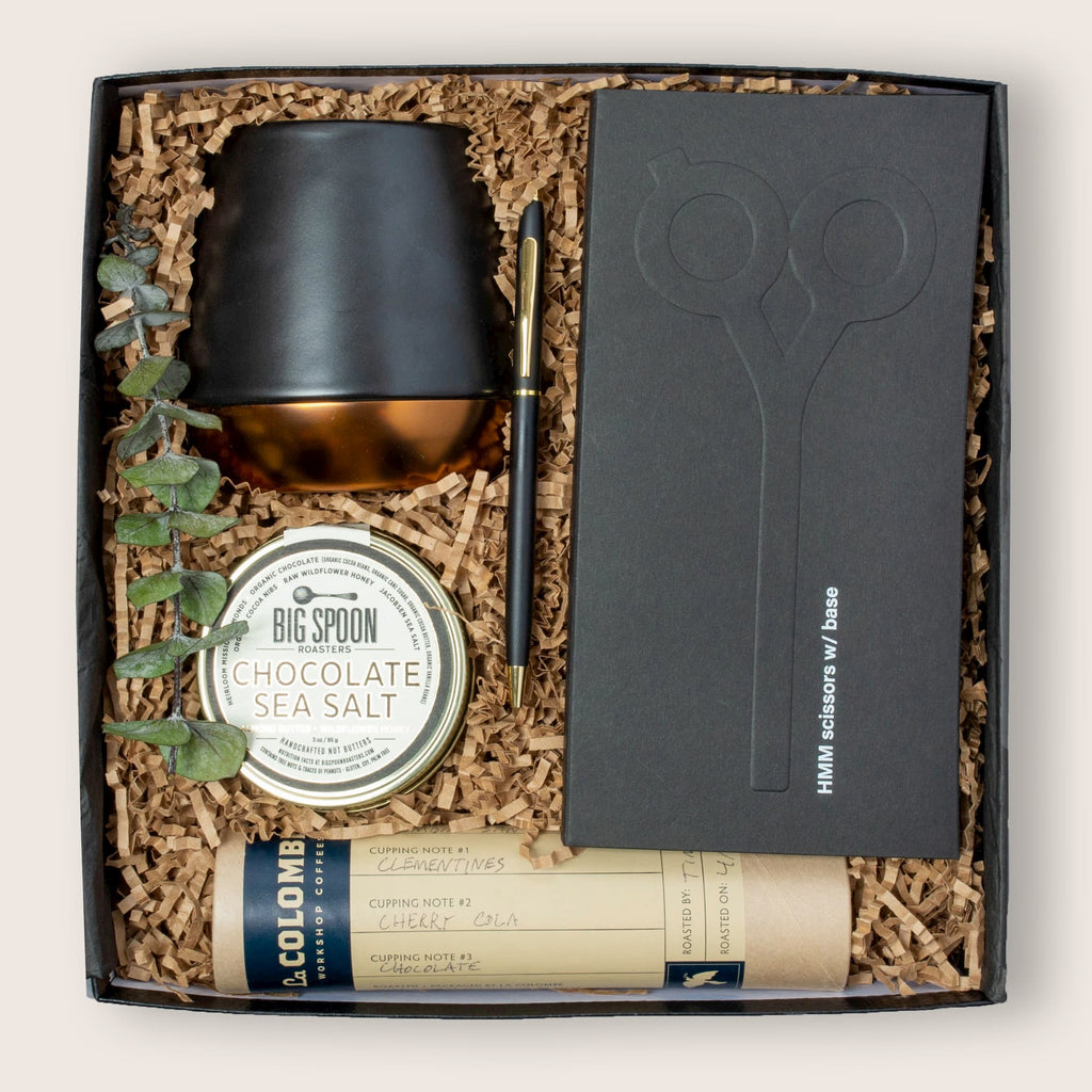 Modern gift box for corporate clients, closings, executives and employees.