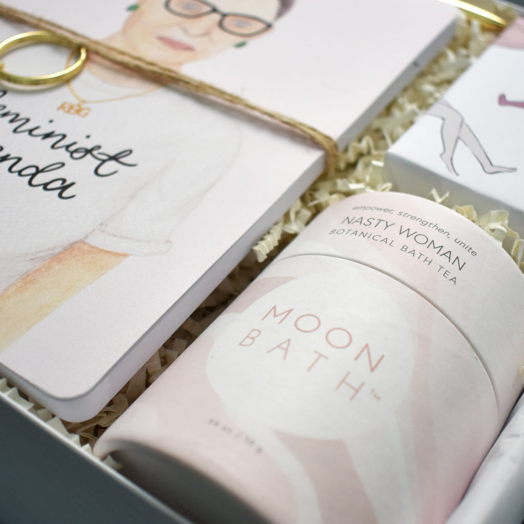 Feminist gift box featuring Ruth Bader Ginsberg in gorgeous modern packaging