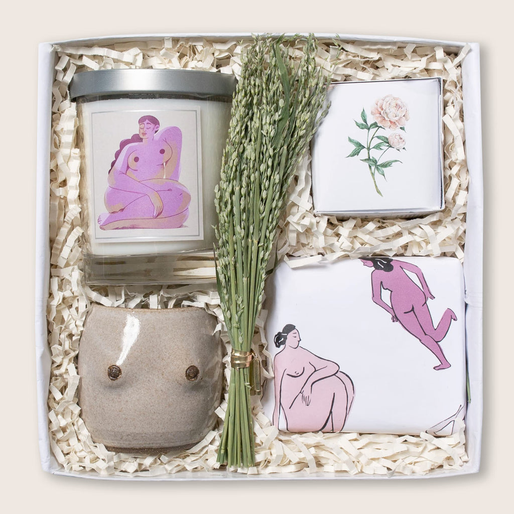 Modern boob themed gift set with boob planter, boob candle, and candied pecans in naked lady wrap. Perfect birthday gift, friendship gift, or just because.