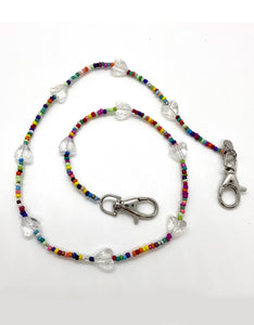 Rainbow beaded clear heart mask necklace