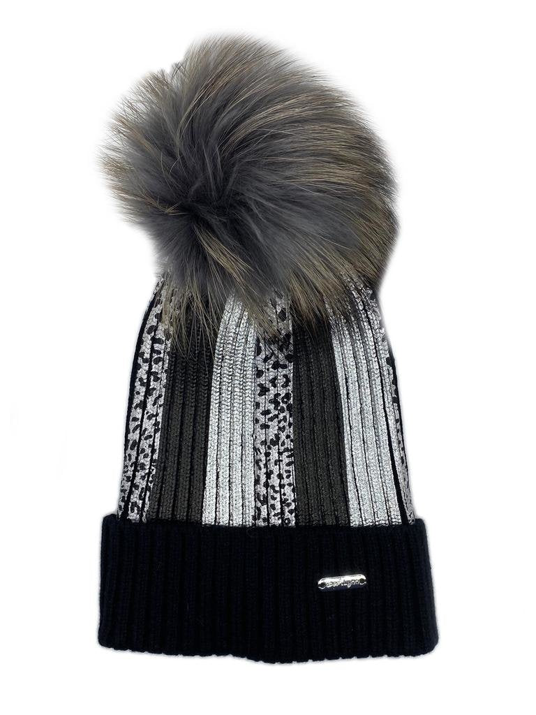 Black Leopard Metallic Stripe Hat