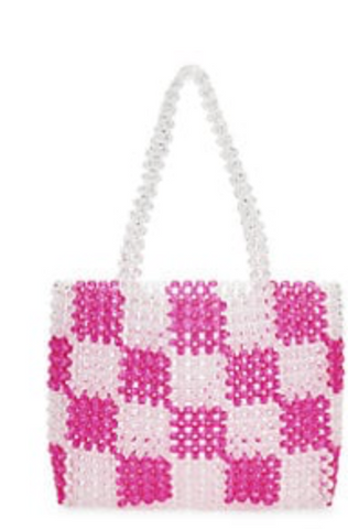 Pearl Catchall Bag in Pink & White