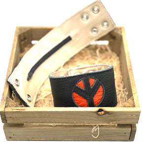 Pretty Things-Orange Peace Money Bracelet(Black Leather)