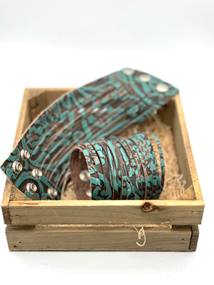 Turquoise/Brown Stamped Shredd Bracelet