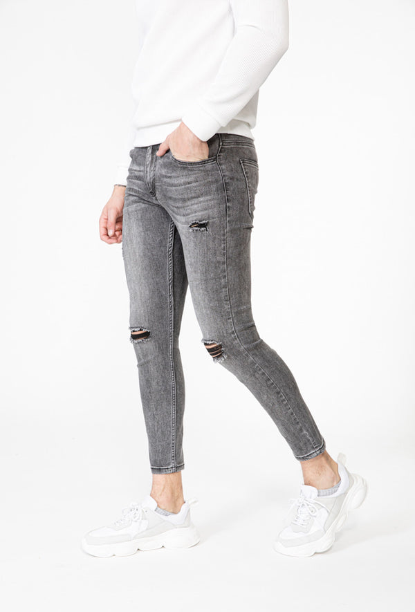 Jeans Skinny damaged grey