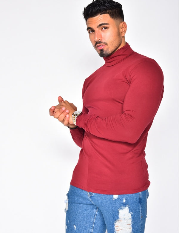 Turtleneck shirt wine red