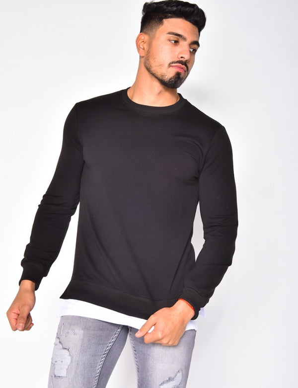 Pullover black white detail