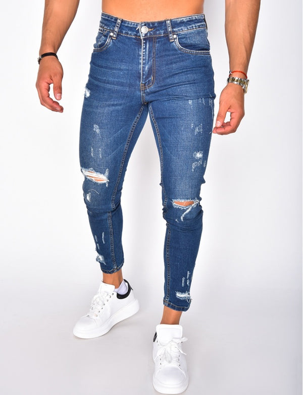 Jeans destroyed & ripped denim blue