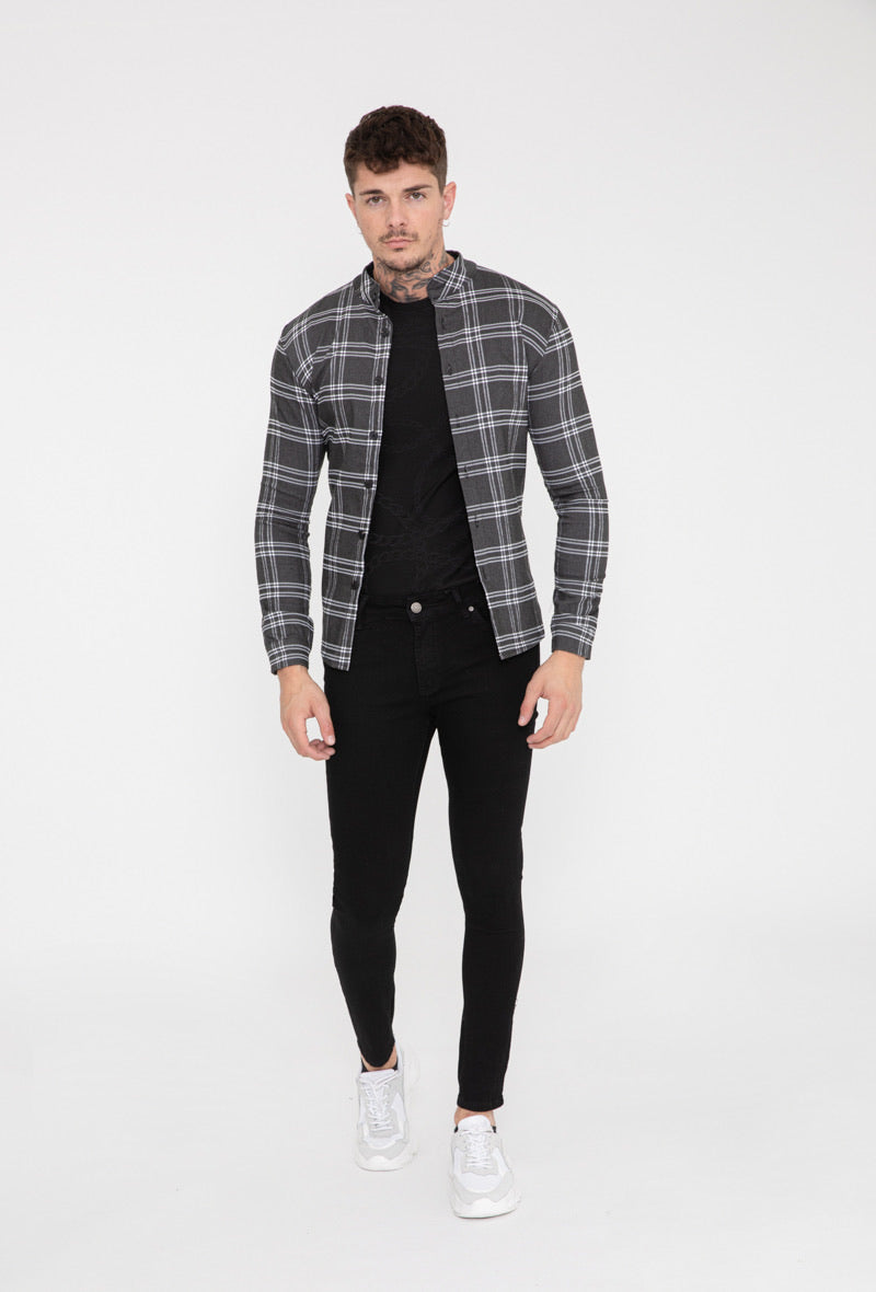 Overhemd checkered stretch dark grey