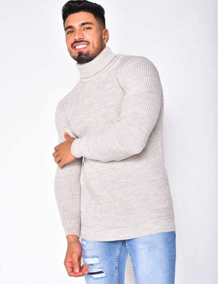 Turtleneck sweater stone
