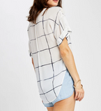 GRID DROP SHOULDER TOP