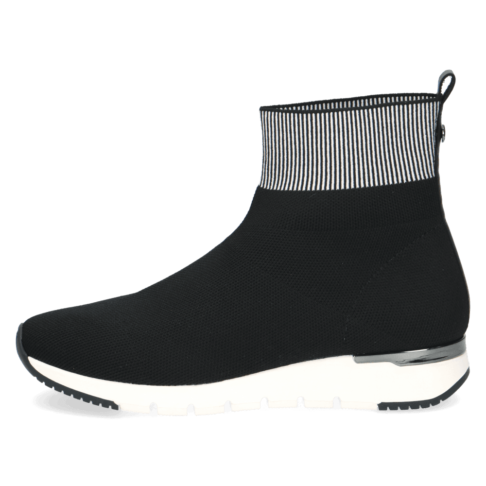 Caprice - 25421 Black/White - Water Resistant Sock Boot