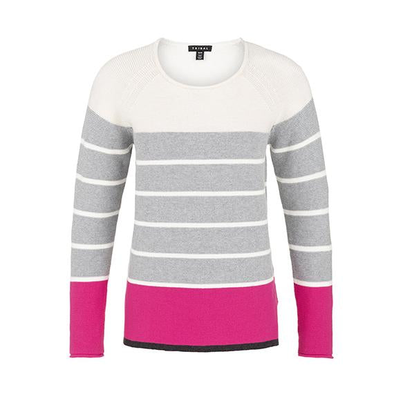TRIBAL - COMBED COTTON TEXTURED STRIPE SWEATER