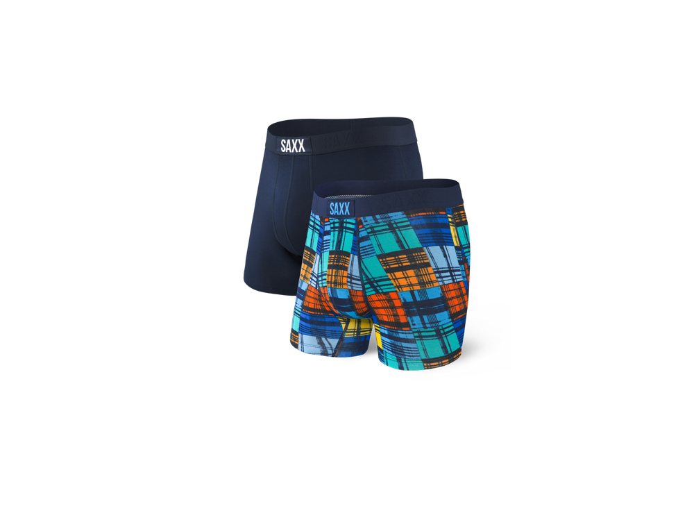 Load image into Gallery viewer, VIBE 2-PACK Boxer Brief / Navy/Blue Oceanside Plaid