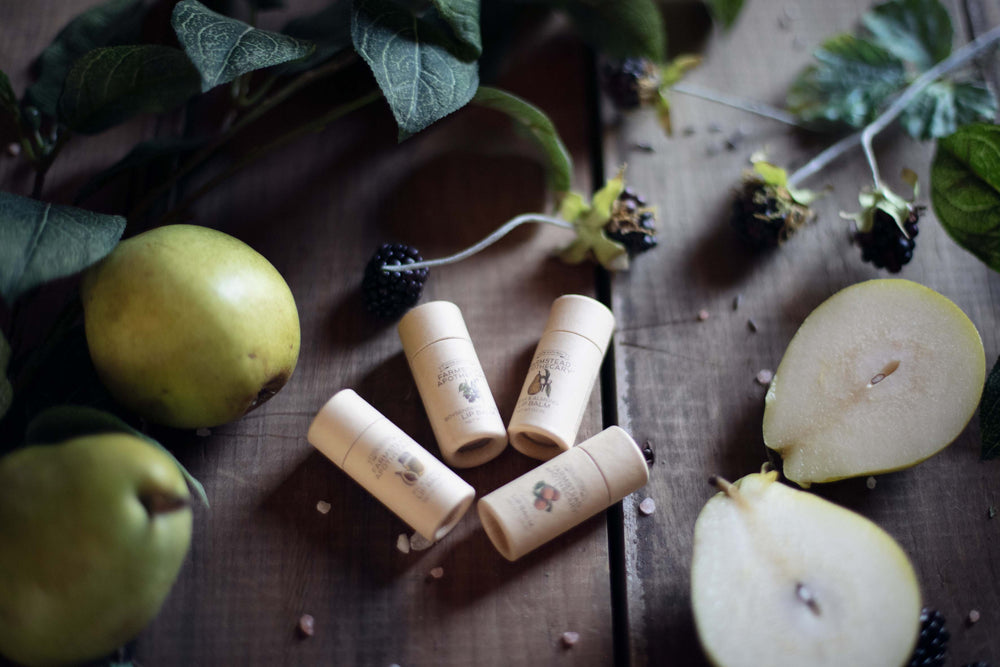 Natural, cruelty free, plant based, organic lip balms flavored with real fruit.