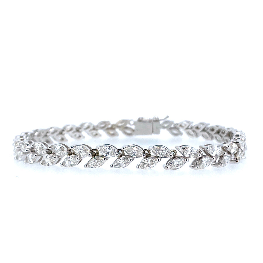 18KT white gold tennis bracelet with 6.03ctw marquise diamon...