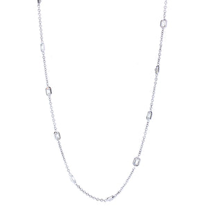 18KT white gold diamonds by the yard necklace with 5.47ctw e...