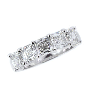 Platinum band with 2.55ctw Asscher cut diamonds, GIA Certifi...