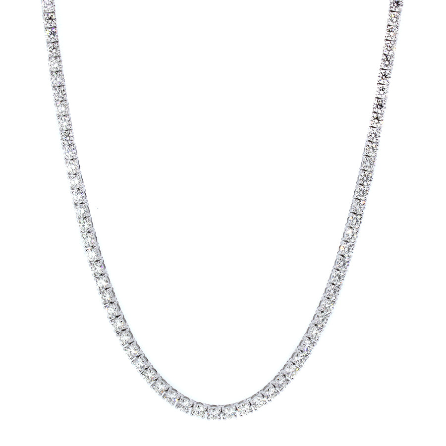 18KT white gold tennis necklace with 10.74ctw round diamonds...