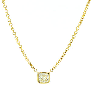 18KT yellow gold necklace with 0.53ct cushion cut yellow dia...