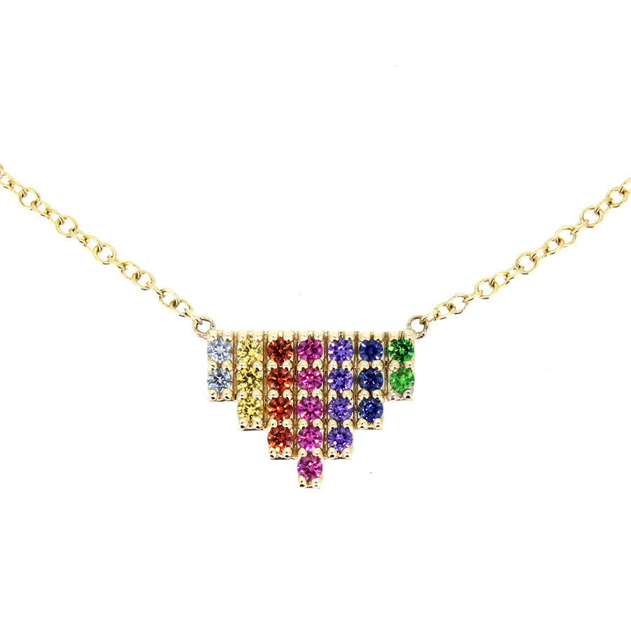 14KT yellow gold necklace with 0.36ctw multi-colored sapphir...
