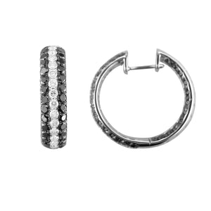 18KT white gold inside-out pave hoops with 2.65ctw round bla...