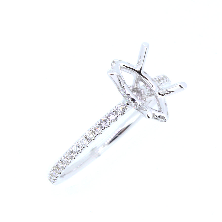 18KT white gold semi-mount with 0.28ctw round diamonds, H-SI...
