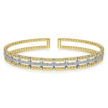 Load image into Gallery viewer, 14K Yellow and White Gold Bujukan Bead Cuff Bracelet with In...