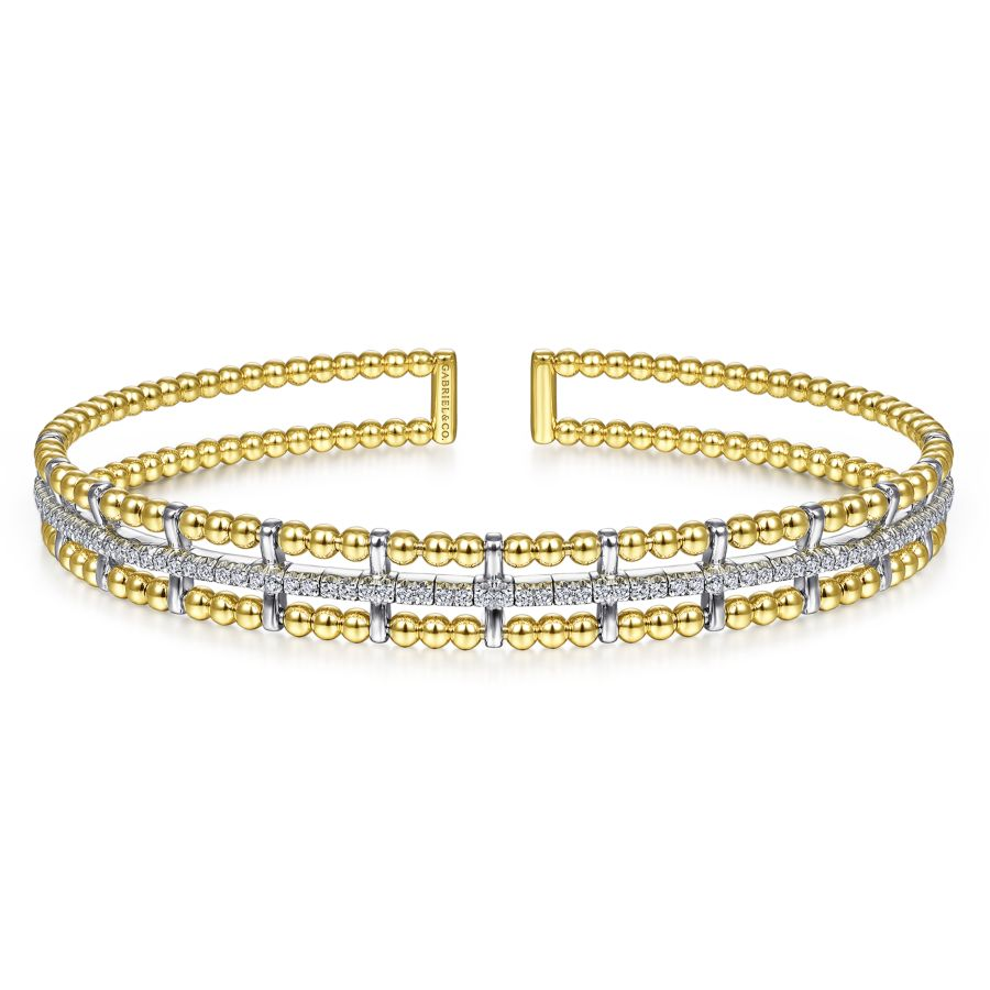 14K Yellow and White Gold Bujukan Bead Cuff Bracelet with In...