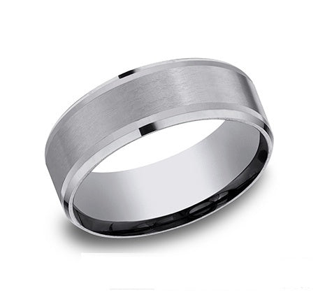 Tantalum band, satin center, drop beveled edges, 8mm, size 1...