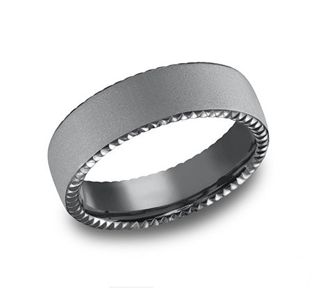 Tantalum band, domed, rivet coin edges, sandblasted, 6.5mm, ...
