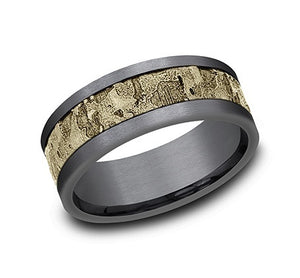 Tantalum and 14KT yellow gold band, wall fracture center, st...