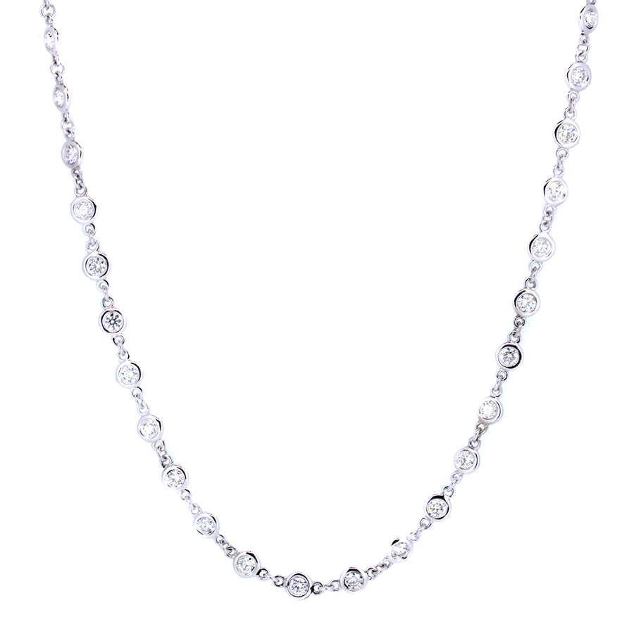 14KT white gold diamonds by the yard necklace with 2.97ctw r...
