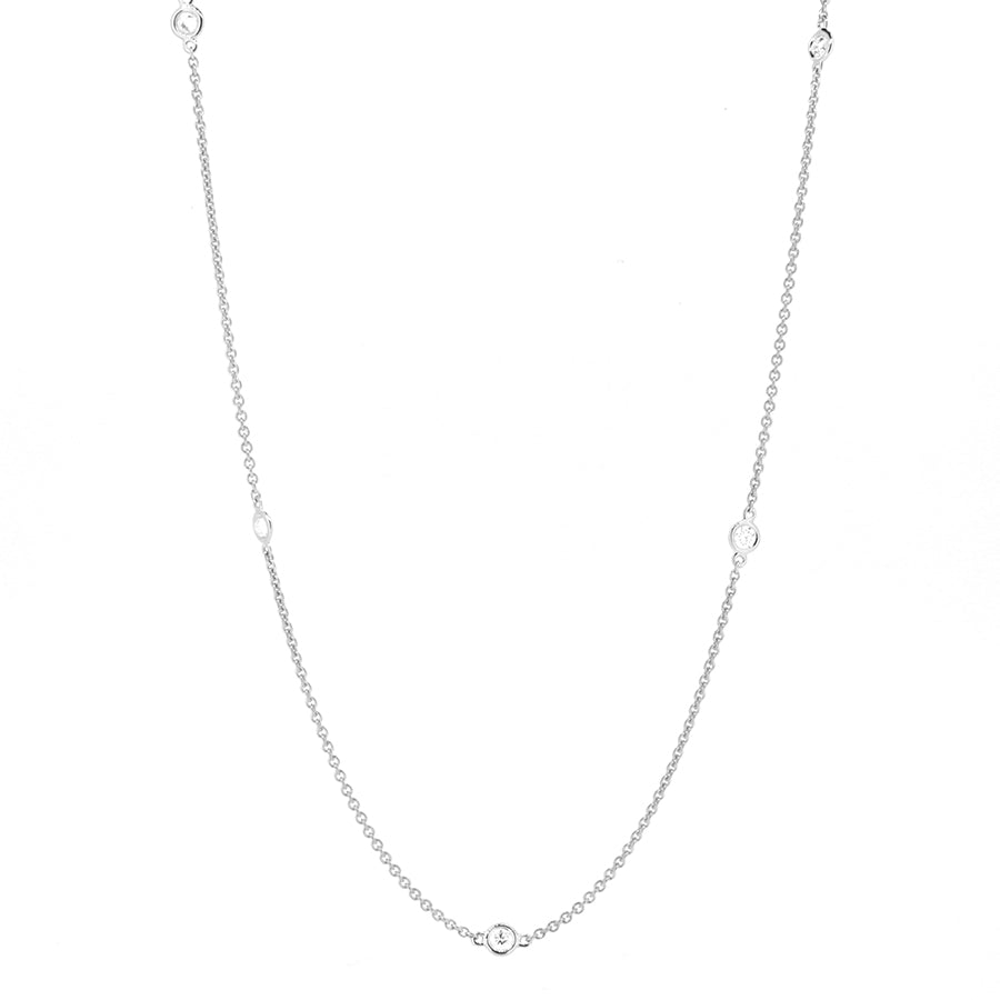 14KT white gold diamonds by the yard chain with 0.47ctw roun...