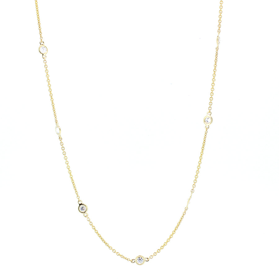 14KT yellow gold diamonds by the yard chain with 0.47ctw rou...