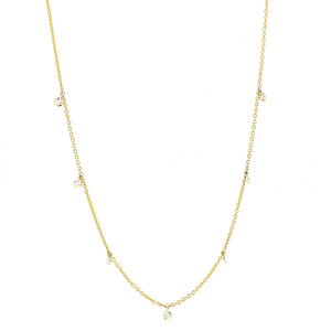 14KT yellow gold diamonds by the yard chain with 0.17ctw rou...