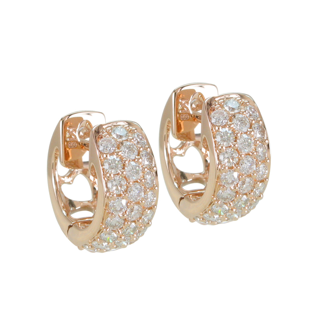 18KT rose gold pave huggie earrings with 0.74ctw round diamo...