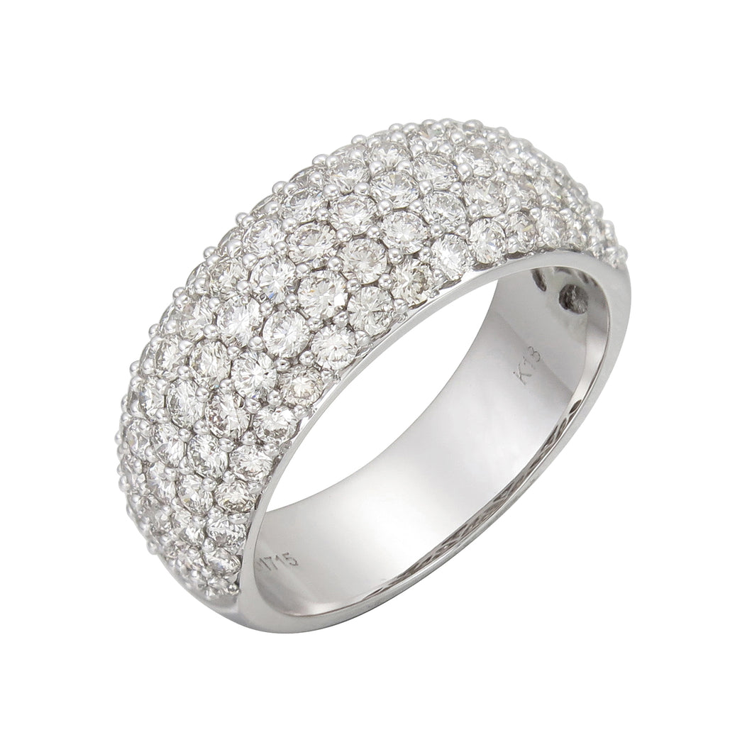 18KT white gold pave set band with 1.75ctw round diamonds, H...