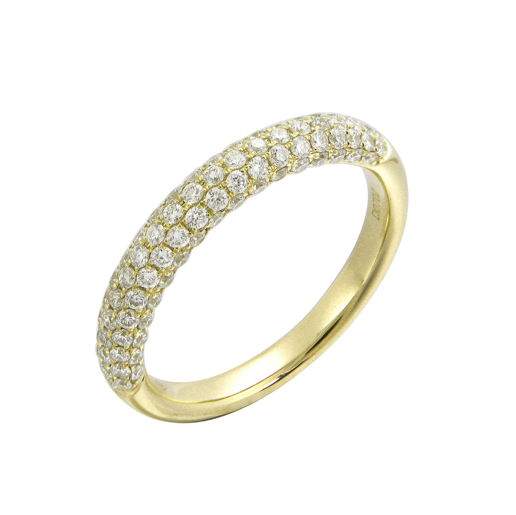 18KT yellow gold pave set band with 0.66ctw round diamonds, ...