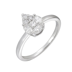 18KT white gold pear cluster ring with 0.35ctw marquise, pri...
